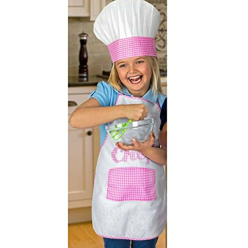 Kid's Chef Apron & Hat (Pink) - Little Girl Chef Costume
