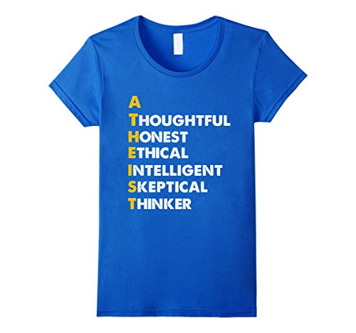 Women's atheist shirt- Thoughtful honest ethical thinker atheist Medium Royal - Stickers Bumper Agnostic