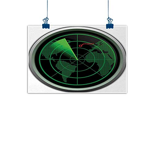 Wall Painting Prints Airplane,Military Radar Screen Global Defense Danger Detecter Scanner Signal System Print,Green Black 28