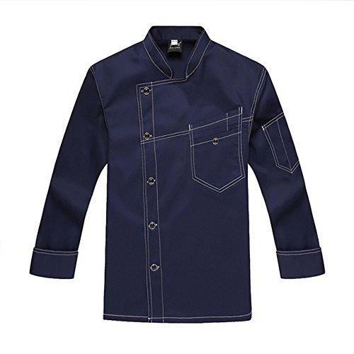 XinAndy Men's Denim Style Chef Coats Long (Denim Chef Jacket)