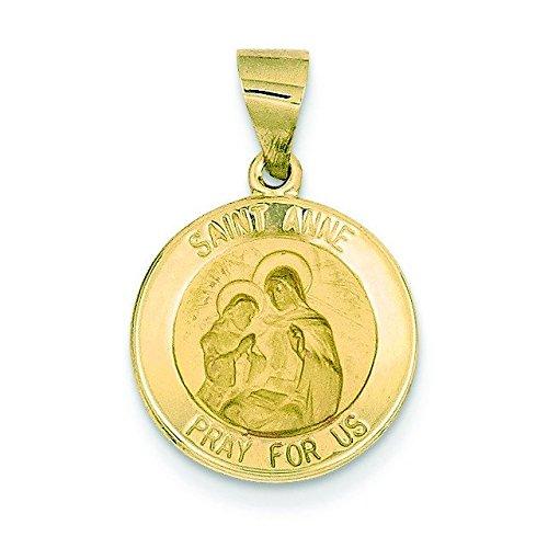 Et satiné poli 14 carats-JewelryWeb Saint Anne médaille