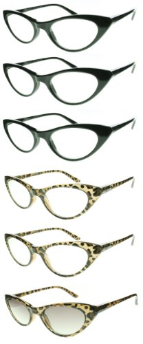 6 Pack Lightweight Cat Eye Style Reading Glasses Clear & Sunglass Readers (1.50, 6 Pack)
