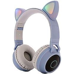 RUIMING auriculares para niños auriculares bluetooth 5.0 estéreo con orejas de gato juegos para niños que brillan intensamente con micrófono