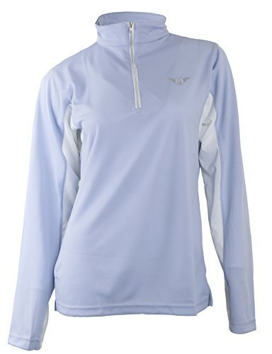 TuffRider Women's Ventilated Technical Long Sleeve Sport Shirt with Mesh, Glacier Blue, Large