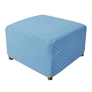 ZYRLWJ Funda para Reposapiés Cuadrado, Elástica Lavable Otomano Funda De Puf Funda De Reposapiés Protector De Muebles (Azul)