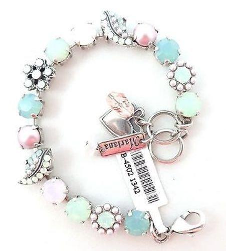 Mariana Pac Opal w Rosewater Opal & Pearls 1342 Swarovski 7- 8 Silver Bracelet