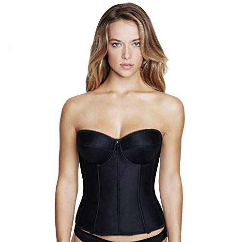 Dominique Juliette Strapless Longline Corset, 34DD, Black