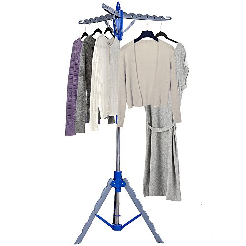 BATHWA Tripod Garment Clothes Drying Hanger Portable Folding Indoor Patio Display Tree Rack, Blue