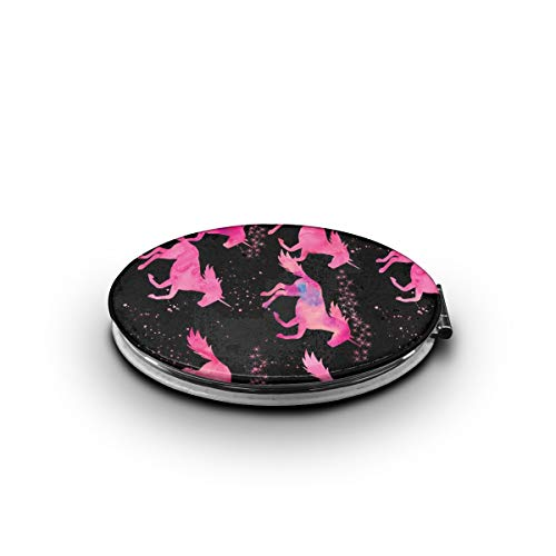 TRENDCAT Double Sided Unicorn Watercolor Unicorns Black Makeup Mirror - Compact Folding Vanity Magnifying and Travel Mirror