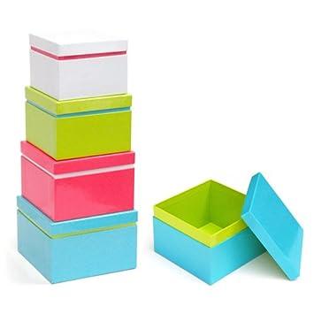 Xonex Linea Nesting Boxes, Set of 4 Nested Gift Boxes, Largest 5-1 ...