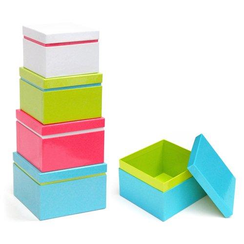 Xonex Linea Nesting Boxes, Set of 4 Nested Gift Boxes, Largest 5-1/8 Inches, Smallest 4-Inch, 1 Set of 4 Nested Boxes (20120)
