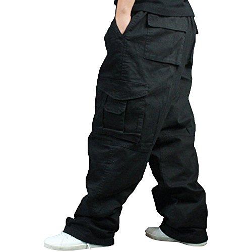 Men Plus Size Cargo Trousers Outdoor Dance Pants Loose Baggy Hip Hop Pocket Black