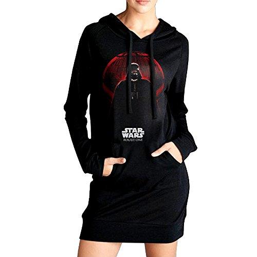 Loppage Womens Star Wars Sexy V Neck Long Sleeve Cotton Hooded Hoodie/Sweatshirt Casual Dress (Sexy Starwars)
