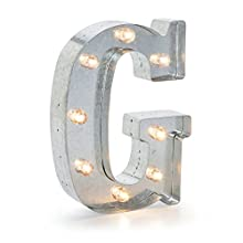 Darice Silver Metal Marquee Letter G – Industrial, Vintage Style Light Up Letter Includes an On/Off Switch, Perfect for Events or Home Décor (5915-708)