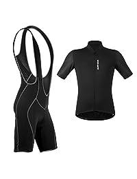 Baosity Men's Comfort Cycling Suits Short Sleeve Biker Jersey and Bib Shorts Bicycle Bike Shirt Cycling Padded Bib Shorts Set - Choose Size
