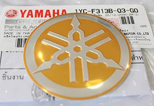 (Yamaha 1YC-F313B-Q3-GO - Genuine 55MM Diameter Yamaha Tuning Fork Decal Sticker Emblem Logo Gold / Silver Raised Domed Metal Alloy Construction Self Adhesive Motorcycle / Jet Ski / ATV / Snowmobile)