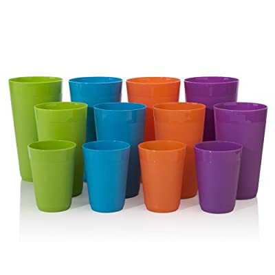 12pc Newport Unbreakable Plastic Cup Tumblers in 4 Assorted Colors, four 10oz juice, four 20oz water and four 32oz iced tea