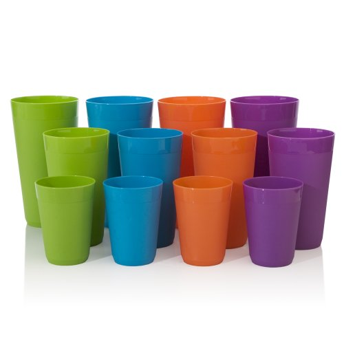 12pc-Newport-Unbreakable-Plastic-Cup-Tumblers-in-4-Assorted-Colors-four-10oz-juice-four-20oz-water-and-four-32oz-iced-tea