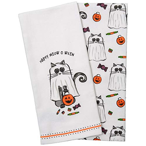 Trick or Treat Black Cat Ghost with Jack-O-Lantern Candy Basket Cotton Dishtowel Set of 2 Kitchen Tea Towels