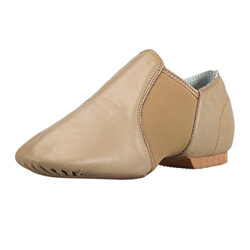BAYSA Girls Jazz Shoe Leather Spandex Gore Slip-on Jazz Shoes (Toddler/Little Kid) Tan13M