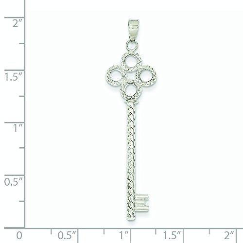 Or blanc 14 carats Diamant clé Coupe-Tube avec pendentif cercle JewelryWeb