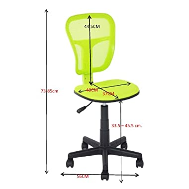 Colorful Chair 4 Colors Comfortable Adjustable Office Chair Ergonomical Ergonomic Office Task Computer Chair Fabric (GREEN)