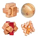 4 Pack 3D Wooden Cube Fidget Finger Toys Brain Teaser Puzzles Set IQ Challenge Set for The Best Learning & Education, Adult/Kids,Stress and Anxiety Relief/ADHD,Autism Adult and Children