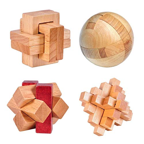 (4 Pack 3D Wooden Cube Fidget Finger Toys Brain Teaser Puzzles Set IQ Challenge Set for The Best Learning & Education, Adult/Kids,Stress and Anxiety Relief/ADHD,Autism Adult and Children)