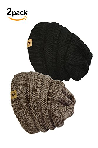 Basico Unisex Adult Warm Chunky Soft Stretch Cable Knit Beanie Cap Hat (101 2pk M.Berry/Black) (Christmas Lebron Outfit)