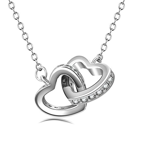WINNICACA Double Heart Pendant Necklace Interlocking Hearts Forever Love Necklace White Gold Jewelry Gifts for Mom Women Girls Daughter Grandma Girlfriend (White Gold)