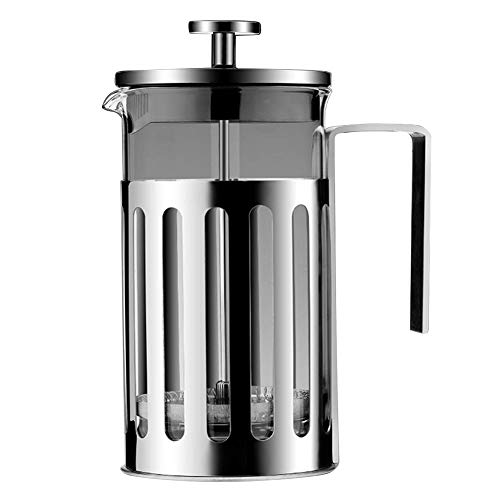 Portable French Press Coffee Maker - Stainless Steel Coffee Cafetiere by FenRui, with 3 Level Filtration Filter - Thick Durable Heat Resistant Glass Tea Pot, for Office or - Teapot Cafetiere Glass La