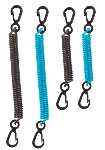 (Seattle Sports Dry Doc Coiled Stretch Tether Lanyard with Clip for Fishing, Keys, Tools (4-Pack Assorted))