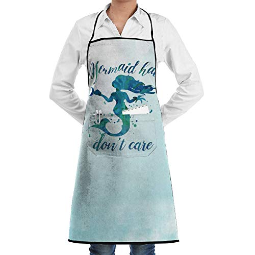 WFamXIn Mermaid Hair - Don't Care Chef Kitchen Cooking Aprons BBQ Bib Apron with 2 Pockets for Women Men