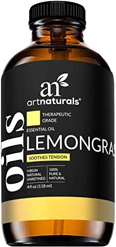 Art Naturals Lemongrass Essential Oil 4oz - 100% Pure Lemon Grass Oils - Therapeutic Grade Best for Skin, Hair, Natural Healing Solution, Aromatherapy & Diffuser - 120ml Large Glass Bottle w/Dropper