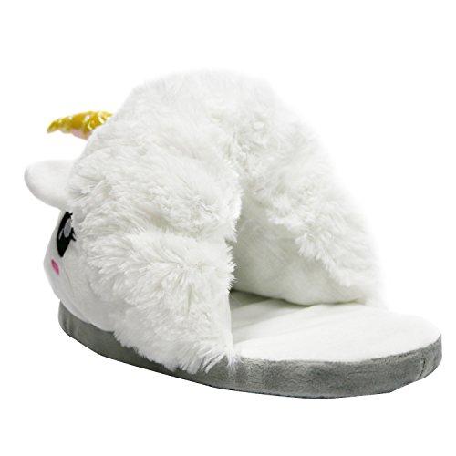 Vox - Kuschelige Plüsch Hausschuhe Einhorn Weiß mit Glitzer für Damen / Erwachsene als Weihnachten Geschenk Einheitsgröße(ca. 36 bis 44) Weiß