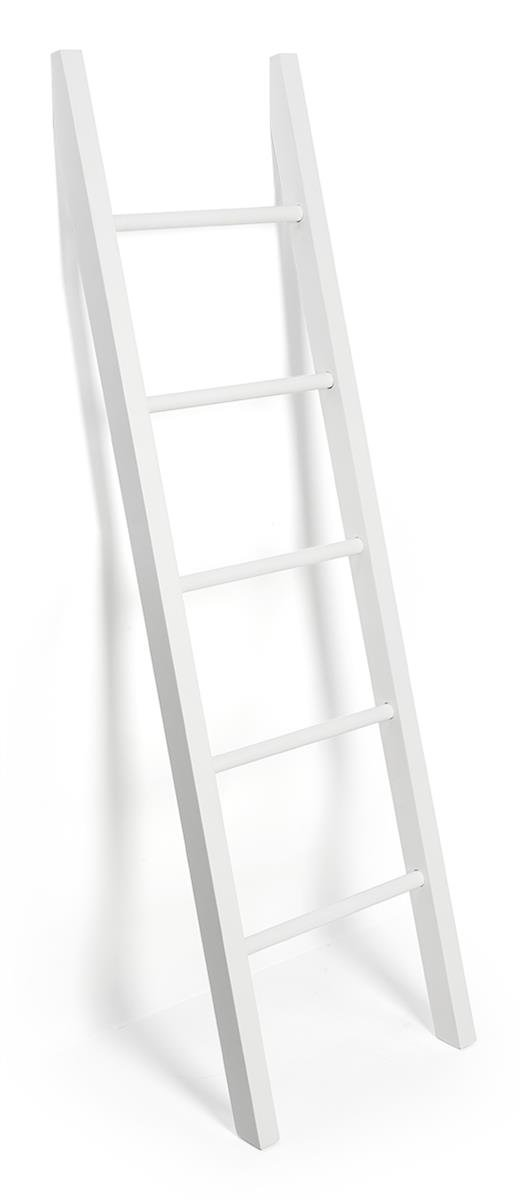 Displays2go Leaning Ladder Rack Display with 5 Rails for Hanging Clothing – White (LDRRCKWT62)