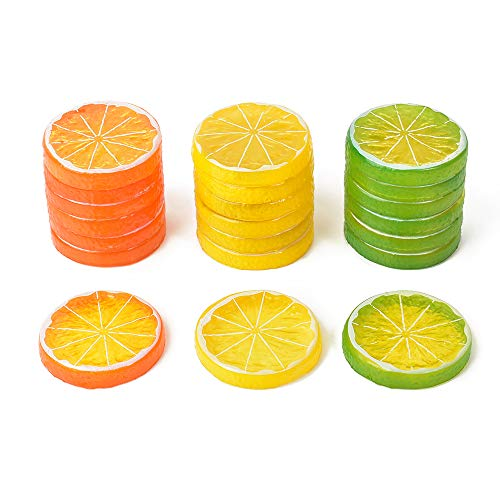 Hagao Fake Lemon Slice Artificial Fruit Highly Simulation Lifelike Model for Home Party Decoration (30pcs Mix Slice)