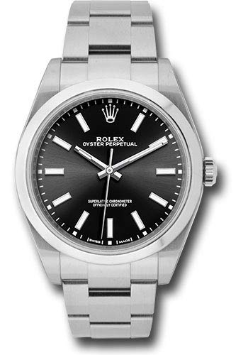 (Men's Rolex Oyster Perpetual 39 Black Dial Luxury Watch (Ref. 114300))