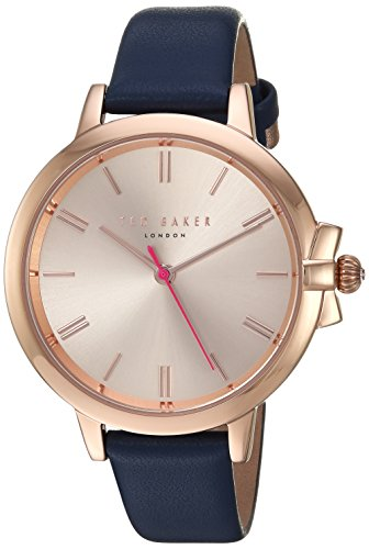 Ted Baker Women's 'RUTH' Quartz Stainless Steel and Leather Casual Watch, Color:Blue (Model: TE50267004)