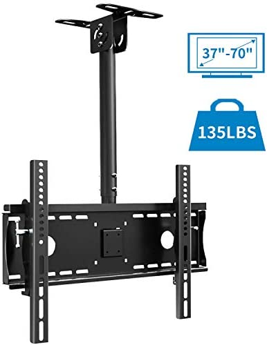 Everstone Ceiling TV Mount for 37 to 70 Adjustable Tilting Full Motion Bracket Fit Most Plasma LED LCD TVs Flat Panel and Curved Displays,Up to VESA 600x400and 135 lbs,HDMI Cable