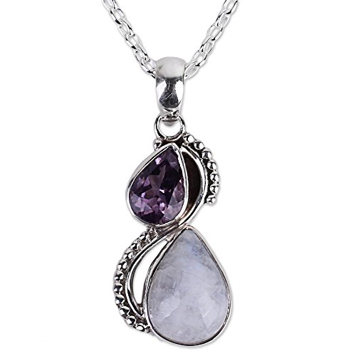 NOVICA Amethyst Rainbow Moonstone .925 Sterling Silver Pendant Necklace, 18