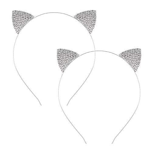 Cat Ears Headband Rhinestone Cat Hair Hoops Crystal