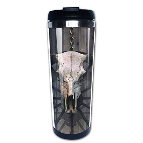 - Travel Coffee Mug Bull Skull Stainless Steel Insulated Coffee Cup Sport Water Bottle 13.5 Oz
