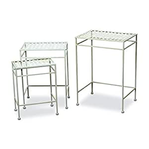 The French Country Style Nesting Tables, Set of 3, Outdoor, White Painted Iron, Rust Resistant, 22, 19, 15 3/4 Tall, By Whole House Worlds