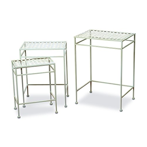 Cheap  The French Country Style Nesting Tables, Set of 3, Outdoor, White Painted..