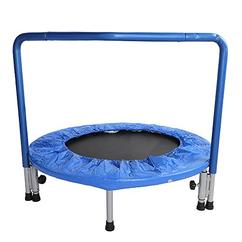 Olymstore Mini 36'' D Kid's Trampoline Body Building Hold 220LBS with Padded Sturdy Bounce Spring bungee Jumper, PVC 3 Layer Cotton Encloser,Handle Bar, Safety and Durable for Toddler, Blue by Olymstore