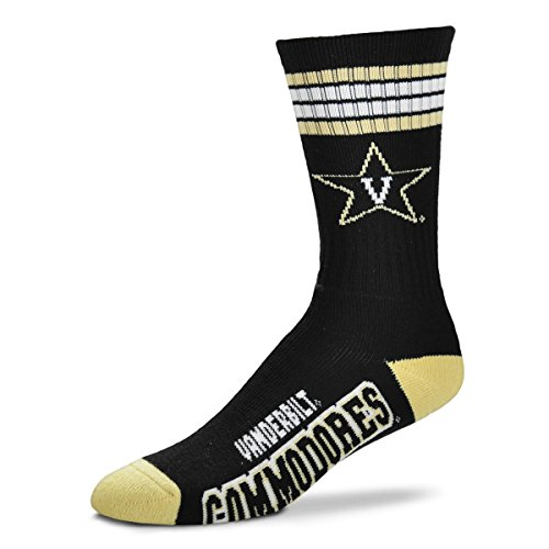 For Bare Feet NCAA 4 Stripe Deuce Crew Men Socks-Vanderbilt Commodores-Large