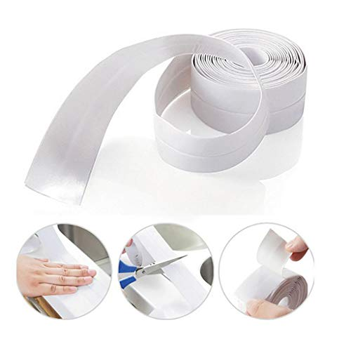 Quaanti Mold Proof Self Adhesive Waterproof Caulking Tape for Bathroom Shower Bath Tub Toilet Wall Window Kitchen Sink Sealing (A)