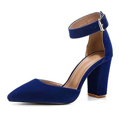 fereshte Women's Ankle Strap Pointed-Toe Chunky Block High Heel Dress Pump Shoes Size: 8 Velvet Blue