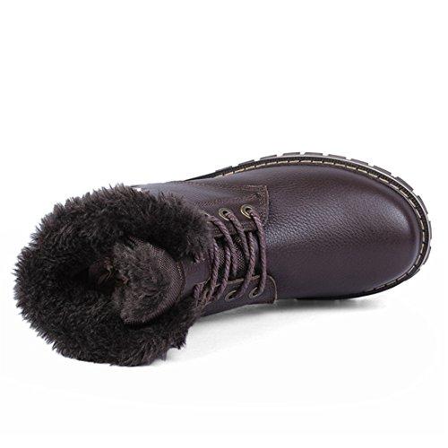 Mens Plus Size Caldo Foderato Martin Stivaletti Alla Caviglia Lace Up Inverno Stivaletti Hx8815 Nero